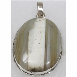 Natural 22.77g Semi-Precious Pendant .925 Sterling