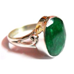 Natural Emerald Oval .925 Sterling Silver Ring