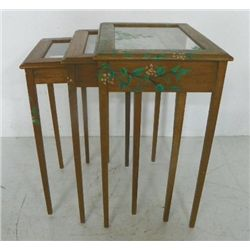 Paint decorated glass top nest of 3 tables