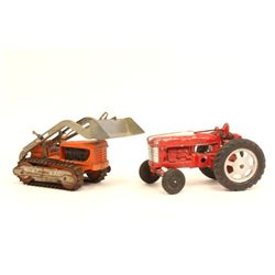 2 Hubley iron toy tractors