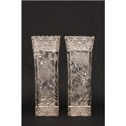 Pair etched crystal vases