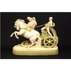 """Attributed Royal Dux Greek """"Chariot & Horses"""""""