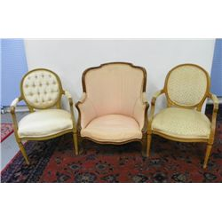 3 odd French style chairs with pink upholstery