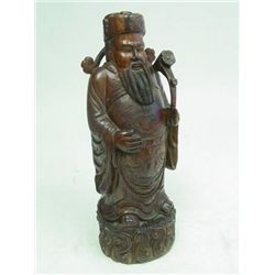 "Wood carved statue ""Emperor with a Ruyi"""