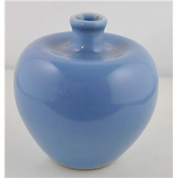 Sky blue glazed apple shaped vase-Clair de Lune