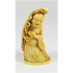 "18th c. carved ivory figure of ""Standing Buddha"""