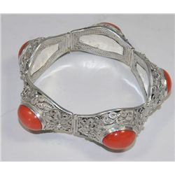 Exceptional coral & silver bracelet
