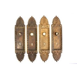 Set of 4 antique dore bronze door applique