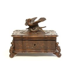Carved Black Forest wood jewelry box