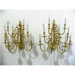 2 Williamsburg style brass sconces