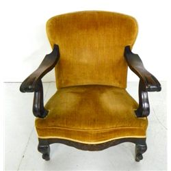 Mahogany gold upholstered chair