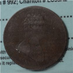 Breton # 992, Charlton # LC-53A2, CCCS F-15. Scarce Closed Sleeved Bust of Salaberry 1825 token.
