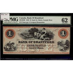 Bank of Brantford; 1 Dollar 1859, 40-12-02R, PMG UNC-62.