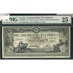 Canadian Bank of Commerce; 10 Dollars 1917, 75-16-02-06, serial 223016, PMG VF-25.