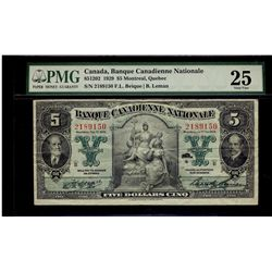 Banque Canadienne Nationale; 5 Dollars 1929, 85-12-02, serial 2189150, PMG VF-25.