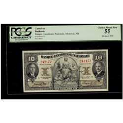 Banque Canadienne Nationale; 10 Dollars 1935, 85-14-04, serial 242172, PCGS AU-55.
