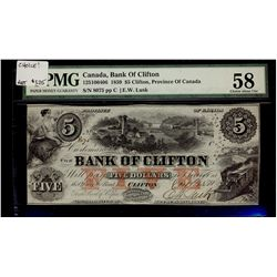 Bank of Clifton; 5 Dollars 1859, 125-10-04-06, serial 8075, PMG AU-58.