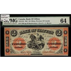 Bank of Clifton; 2 Dollars 1861, 125-12-10, serial 2362. PMG UNC-64.