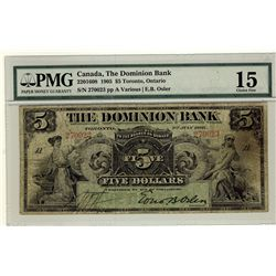 Dominion Bank; 5 Dollars 1905, 220-16-08, serial 2700023, PMG F-15.