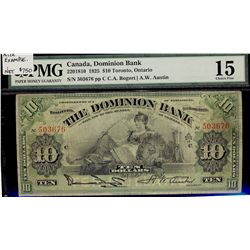 Dominion Bank; 10 Dollars 1925, 220-18-10, serial 503676, PMG F-15.