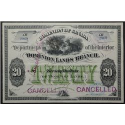 Dominion of Canada; Department of the Interior, Dominion Lands Branch, 20 Dollar Scrip May 1876,