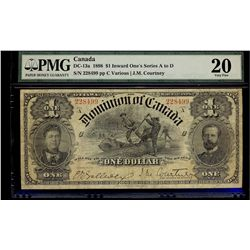 Dominion of Canada; 1 Dollar 1898, DC-13a, PMG VF-20, serial 228499, a bright example.