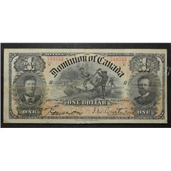 Dominion of Canada; 1 Dollar 1898, DC-13b, serial 749752, series G, Letted C, Courtney, grade Fine.