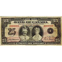 Bank of Canada; 25 Dollars 1935, BC-11, PMG VF-20, serial A000869. A popular note.