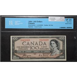 Bank of Canada; 100 Dollars 1954, BC-35a, CCCS VF-20, Devil's Face, Coyne Towers.