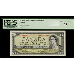 Bank of Canada; 20 Dollars 1954, BC-41bA, PCGS AU-55, Replacement *VE0215649. Crisp and bright. A be