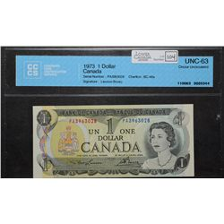 Bank of Canada; 1 Dollar 1973, BC-46a, CCCS UNC-63, PA3963028, Lawson Bouey.