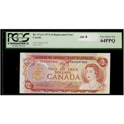 Bank of Canada; 2 Dollars 1974, BC-47aA-i, UNC-64 PPQ, Replacement ABX0247462.