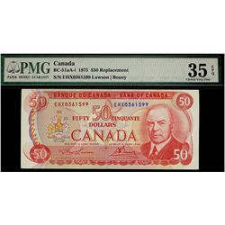 Bank of Canada; 50 Dollars 1975, BC-51aA-i, PMG VF-35, Replacement EHX0361599.