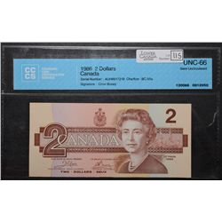 Bank of Canada; 2 Dollars 1986, BC-55a, CCCS UNC-66, Crow Bouey, AUH8917218.