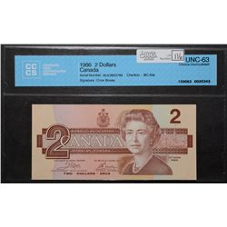 Bank of Canada; 2 Dollars 1986, BC-55a, CCCS UNC-63, Crow Bouey, AUL0803799.