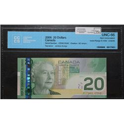 Bank of Canada; 20 Dollars 2006, BC-64aA-i, CCCS UNC-66, Jenkins Dodge, Replacement EZD9725087, Inse