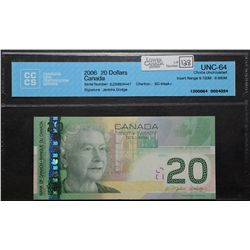 Bank of Canada; 20 Dollars 2006, BC-64aA-i, CCCS UNC-64, Jenkins Dodge, Replacement EZS9804447, Inse