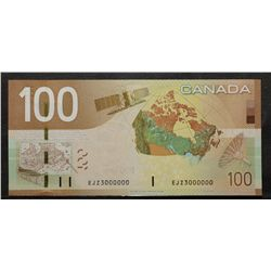 Bank of Canada; 100 Dollars 2009, BC-66b, Choice UNC-63, Jenkins Carney, Million Note EJZ3000000.