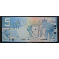 Bank of Canada; 5 Dollars 2009, BC-67b, Choice UNC-63, Jenkins Carney, Number 1 Note, AAM0000001.