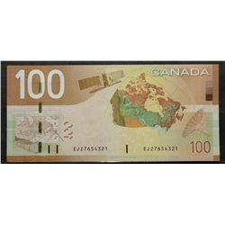 Bank of Canada; 100 Dollars 2009, BC-66b, Choice UNC-63, Jenkins Carney, Ladder Note, EJZ7654321.