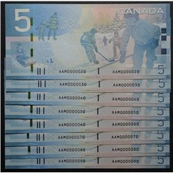 Bank of Canada; 5 Dollars 2009, BC-67b, Choice UNC-63, Jenkins Carney, Low serial Numer Suite, AAM00
