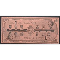 Cadana; 1 Dollar Specimen of proposed Reversible Paper Money with a 1961 copyright by René Laflamme.