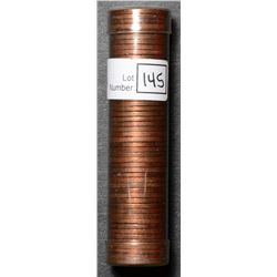 Roll of Cent 1949, BU 50 coins in plastic tube.