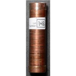 Roll of Cent 1950, BU 50 coins in plastic tube.