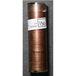 Roll of Cent 1953, BU 50 coins in plastic tube.