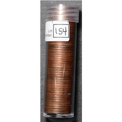 Roll of Cent 1955, BU 50 coins in plastic tube.