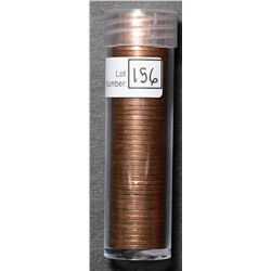 Roll of Cent 1957, BU 50 coins in plastic tube.