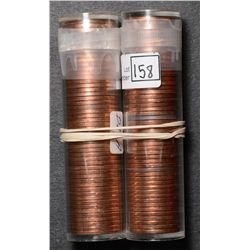 Roll of Cent 1958 & 1959, BU 50 coins in plastic tube. Lot of 2 rolls.
