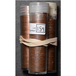 Roll of Cent 1959, BU 50 coins in plastic tube. Lot of 3 rolls.