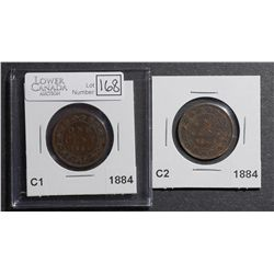Cent 1884 Obv 1 VG-8 & 1884 Obv 2 EF-40. Lot of 2 coins.